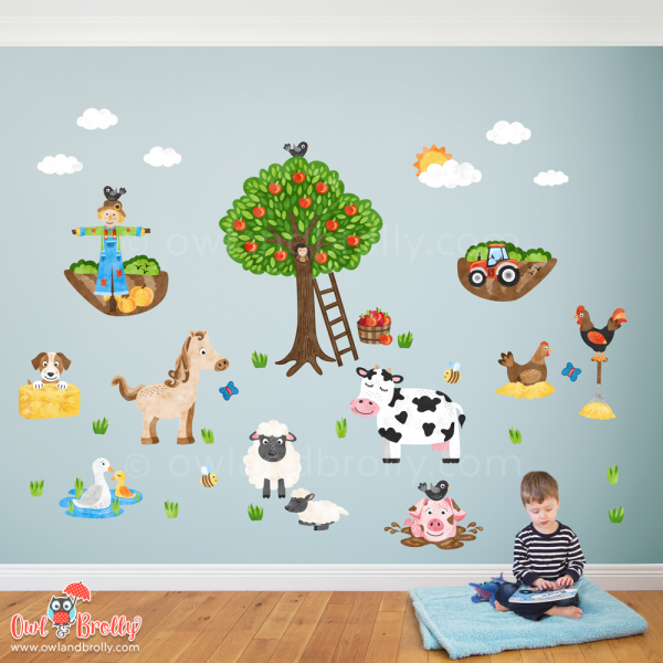 Farm yard wall stickers by Owl and Brolly, with farm animals, tractor, orchard, scarecrow, horse sheep, and puppy wall decals