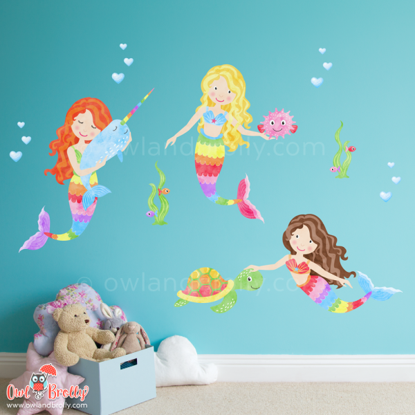 3 rainbow coloured mermaid wall decal stickers with animals, to fill a small area in on a child's wall.