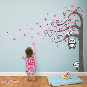 Panda and pink blossom tree wall stickers for a nursery room or child's bedroom. Featuring a side tree with a trunk extension decal if you need to set the tree higher to fit over furniture.