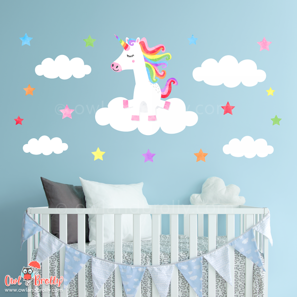 Rainbow and white unicorn wall decal set with clouds and stars. Perfect wall art to go over nursery furniture.