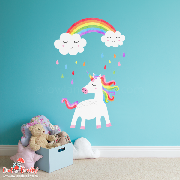Unicorn and rainbow clouds wall sticker decals for girls bedrooms and play room spaces. An ideal decal set for a small space with a rainbow theme.