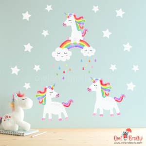 3 rainbow unicorn wall stickers for that smaller space. Set on 2 A4 sheets, it is a small set filled with little parts, and is a great accent wall decor set for a girls room with less space
