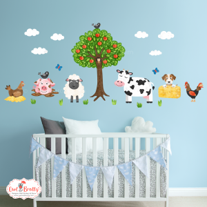 Farm yard animals wall sticker decals set for a smaller space by Owl and Brolly.