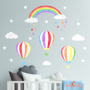 Rainbow hot air balloon wall stickers. Single peel and stick wall decals to go in a rainbow themed room or nursery.