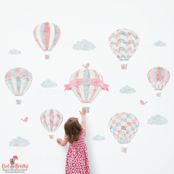 Vintage rose floral patterned wall sticker hot air balloons. Part of rose floral matching set on Owl and Brolly. This is the largest set made up of 7 single balloon decals, clouds and birds.