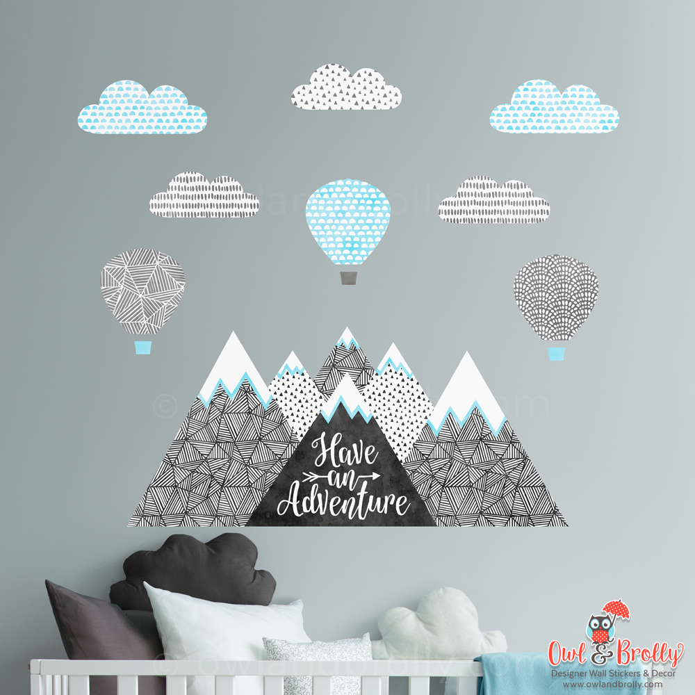 Mountains And Hot Air Balloons Fabric Wall Stickers Owl