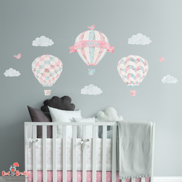 Vintage rose floral patterned wall sticker hot air balloons. Part of rose floral matching set on Owl and Brolly. This is the small set made up of 3 single balloon decals with custom name banner, clouds and birds.