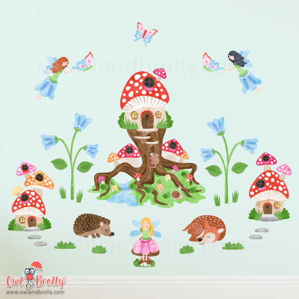 Enchanted wall stickers with fairies, flowers, toadstool houses and fairy tree stump. Part of the fairytale wall sticker sets here at Owl and Brolly
