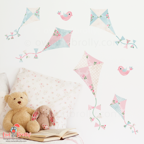 Vintage floral wall sticker kites, part of the floral rose decal sets designed by Owl and Brolly. This small space set is on 2 A4 sheets, ideal for a pretty room that has less wall space for bigger wall art scenes.