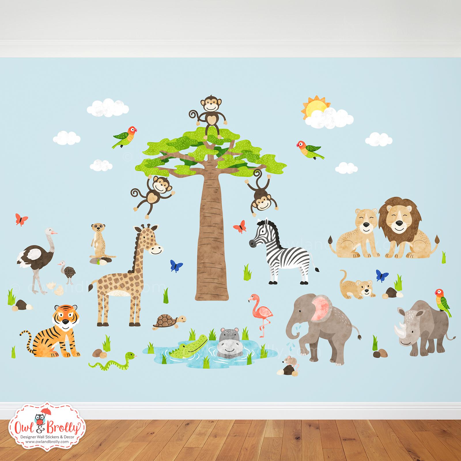 3417385bea147 African Jungle Safari Fabric Wall Stickers (large) – Owl   Brolly