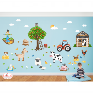 Farm yard animal wall decal stickers large bedroom decor accessories by owl and brolly
