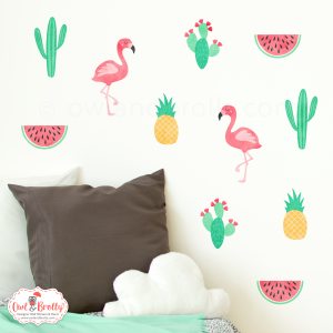 Tropical wall stickers scene by Owl and Brolly