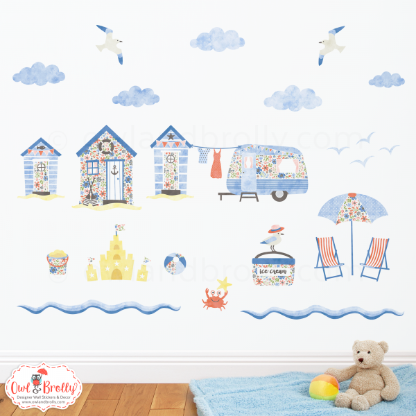 beach huts and caravan seaside wall stickers – owl & brolly