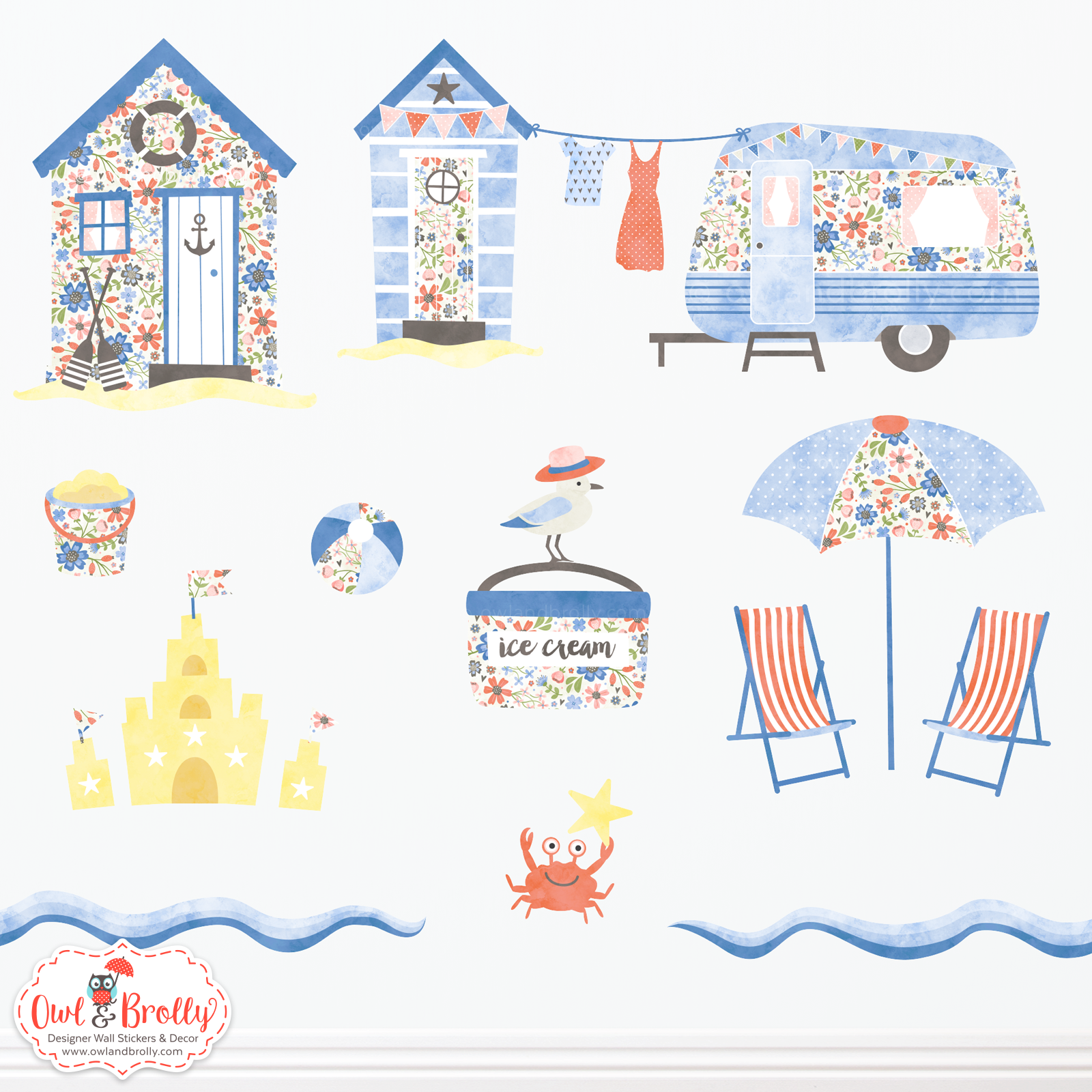 Beach Huts and Caravan Seaside Wall Stickers