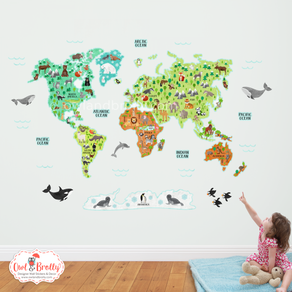 Animal world map wall sticker, part of the educational wall decals for fun learning at Owl and Brolly. This is the original neutral gender nursery wall decor set, shown in it's large size.