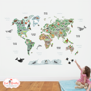 Adventure world map animals wall sticker, part of the educational and learning wall decals at Owl and Brolly. This is the neutral coloured map for a neutral gendered nursery or play room, shown in it's large size.