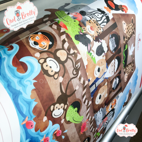 Noah's ark bible story illustration book wall sticker decal by Owl and Brolly