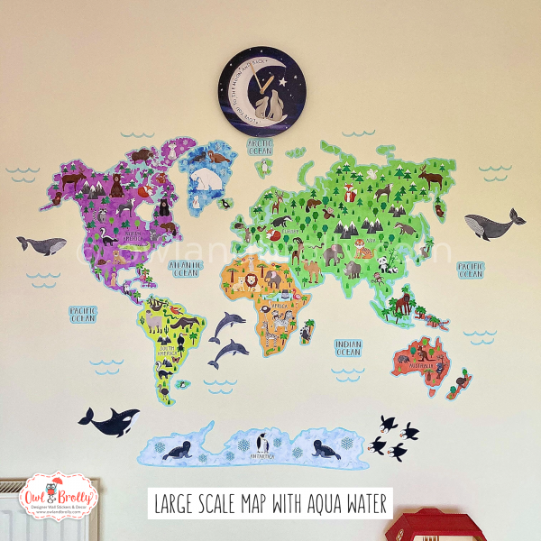 Bright world map wall sticker decal educational decor animal wall art by owl and brolly