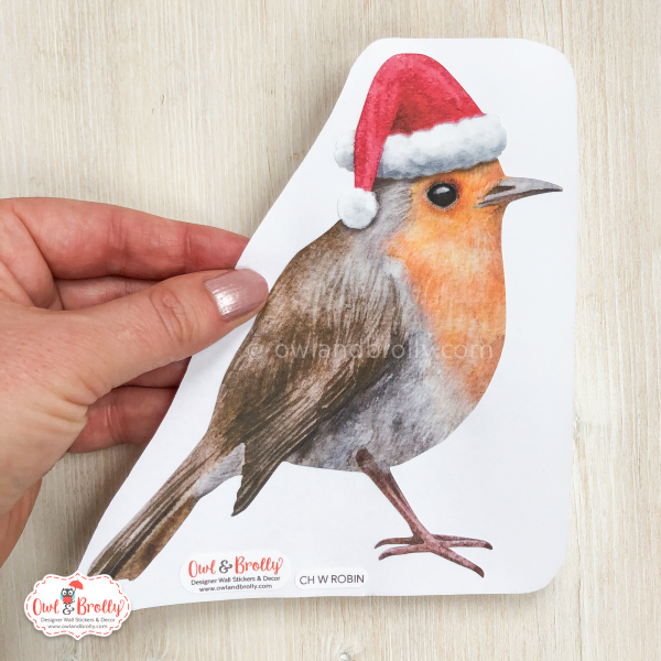 Christmas robin watercolour wall sticker xmas decal decoration by Owl and Brolly
