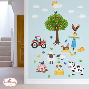 Farm yard animal wall sticker decals medium set for a neutral gender decor interior