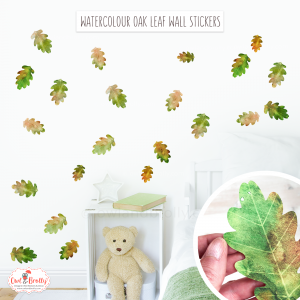 Oak leaf watercolour wall decals for neutral gender nursery and home wall decor
