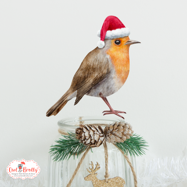 Christmas robin wall decal sticker decoration by owl and brolly