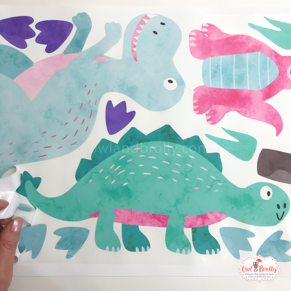 Aqua dinosaur wall stickers decal girls bedroom wall art decor by owl and brolly