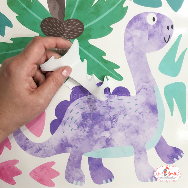 Lilac dino fabric wall sticker decals removable and reusable by owl and brolly