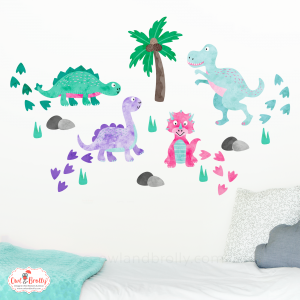 dinosaur wall decor decals by owl and brolly pastel coloured wall stickers by owl and brolly