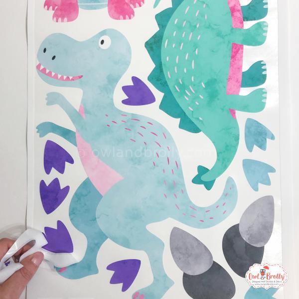 Pastel t-rex wall sticker decal girls room decor dinosaur bedroom