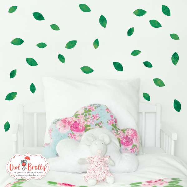 Green leaf wall sticker decals ideal for an accent to walls with flowers, jungle or woodland theme decor