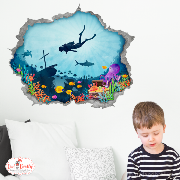deep sea diver hole in the wall portal wall sticker decal by owl and brolly