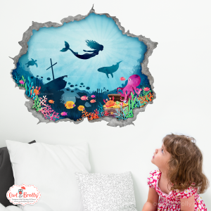 mermaid hole in the wall portal wall sticker decal underwater decor by owl and brolly