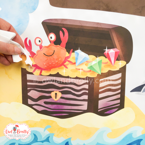 Pirate treasure chest wall sticker complete with friendly crab by Owl and Brolly