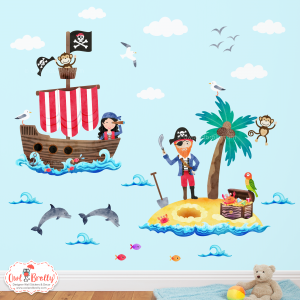 Pirate wall sticker decals coloured for a coloured wall, by Owl and Brolly