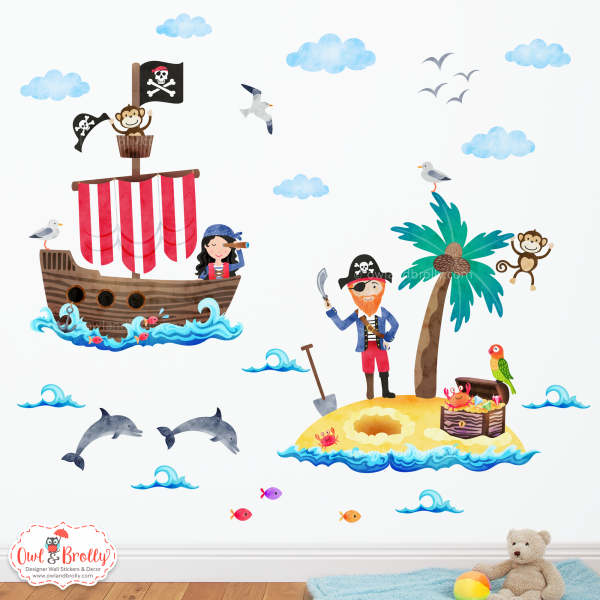 Pirate wall sticker decals coloured for a white wall