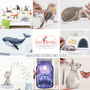 Watercolour Illustrated Wall Stickers and Decals